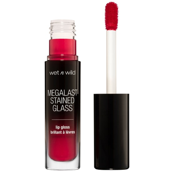 Wet n Wild | Mega Last Stained Glass Lip Gloss- Heart Shattering - Product front facing with cap off on a white background