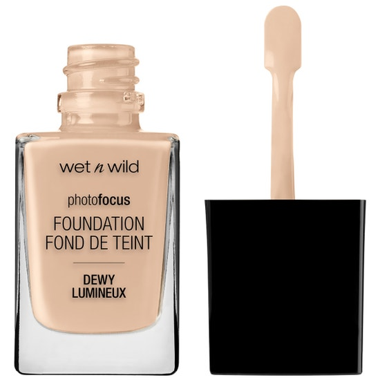 Wet n Wild | Photo Focus Dewy Foundation- Shell Ivory - Product front facing with cap off on a white background