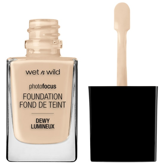 Wet n Wild | Photo Focus Dewy Foundation- Soft Ivory - Product front facing with cap off on a white background