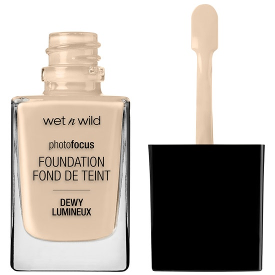 Wet n Wild | Photo Focus Dewy Foundation- Nude Ivory - Product front facing with cap off on a white background