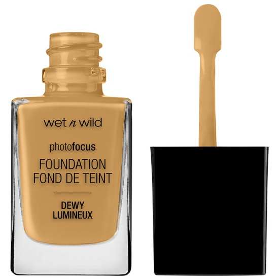 Wet n Wild | Photo Focus Dewy Foundation- Caramel - Product front facing with cap off on a white background