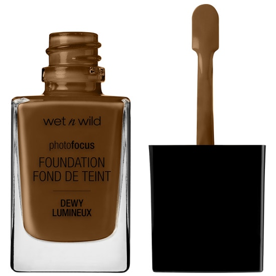 Wet n Wild | Photo Focus Dewy Foundation- Golden Almond - Product front facing with cap off on a white background