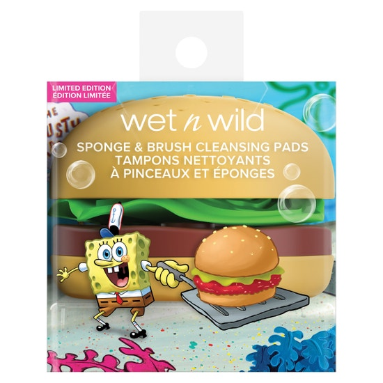 Krabby Patty Sponge & Brush Cleansing Pads | wet n wild | Product front facing in packaging, with no background