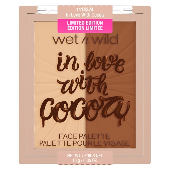 In Love With Cocoa Blushlighter Duo | Wet n wild | Product front facing lid closed, with no background