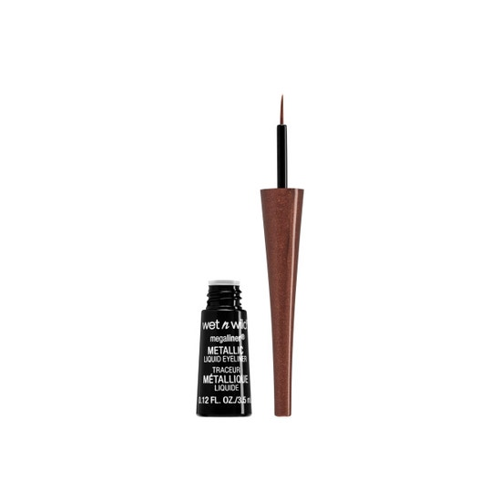 Wet n Wild | MegaLiner Metallic Liquid Eyeliner-Metallic Brown - Product front facing with cap off on a white background