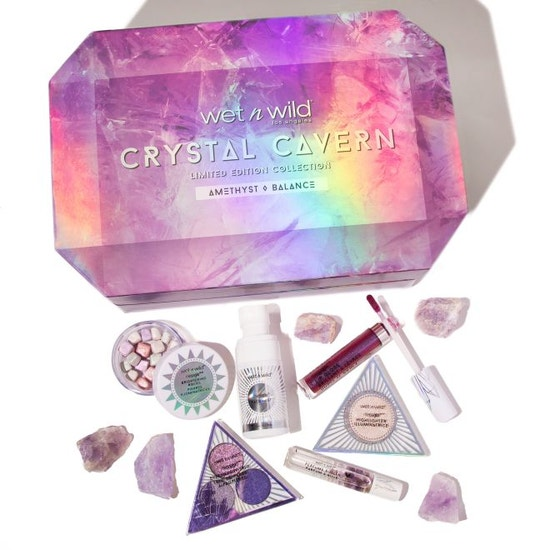 Wet n Wild   Crystal Cavern Amethyst Box - Products laid out on white background