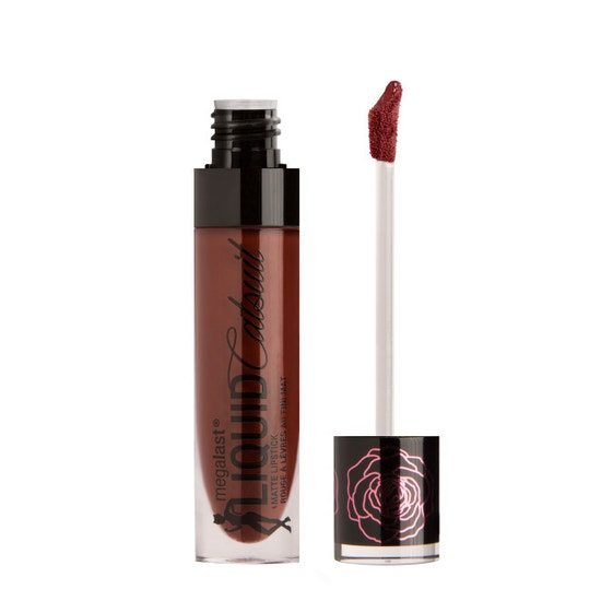 Wet n Wild | Rebel Rose MegaLast Liquid Catsuit Matte Lipstick- Kiss Of Death - Product front facing with cap off on a white background