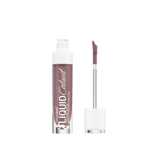 Wet n Wild | MegaLast Liquid Catsuit High-Shine Lipstick- Mauve Over Girl - Product front facing with cap off on a white background