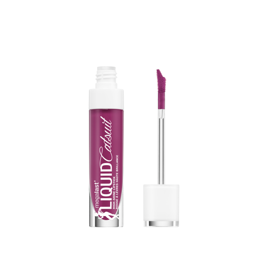 Wet n Wild   MegaLast Liquid Catsuit High-Shine Lipstick- Berry Down Lo - Product front facing with cap off on a white background