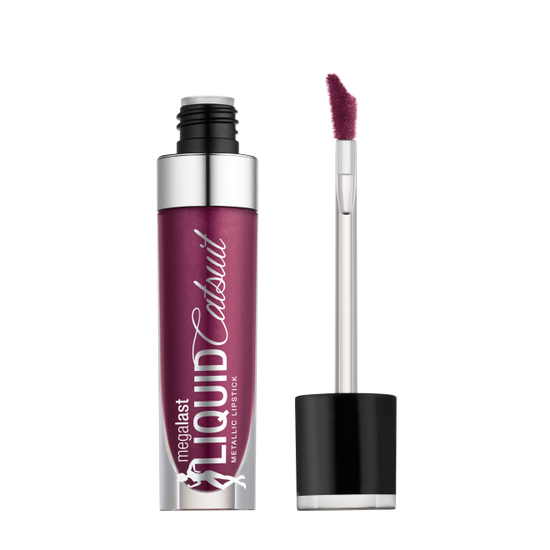 Wet n Wild | MegaLast Metallic Liquid Catsuit-Acai So Serious - Product front facing with cap off on a white background