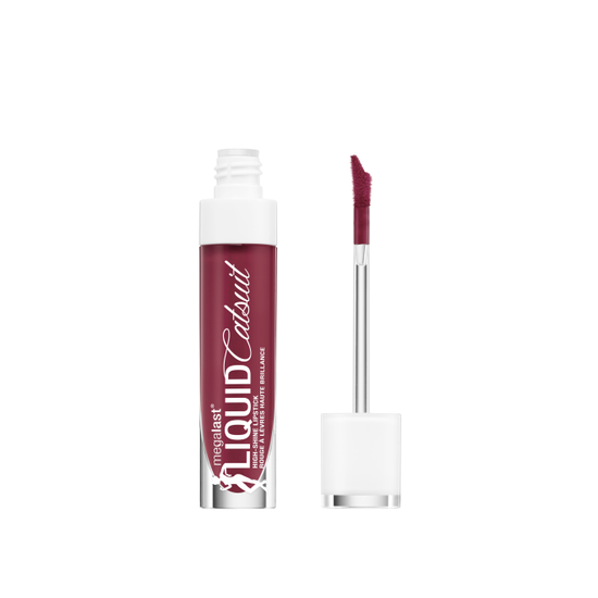 Wet n Wild | MegaLast Liquid Catsuit High-Shine Lipstick- Wine Is The Answer - Product front facing with cap off on a white background