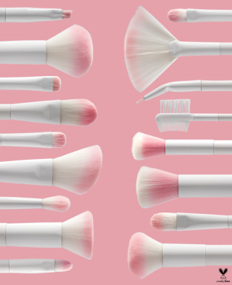 Wet n Wild   Brush Roll 17 Piece Collection - Products laying next to each other on a pink background