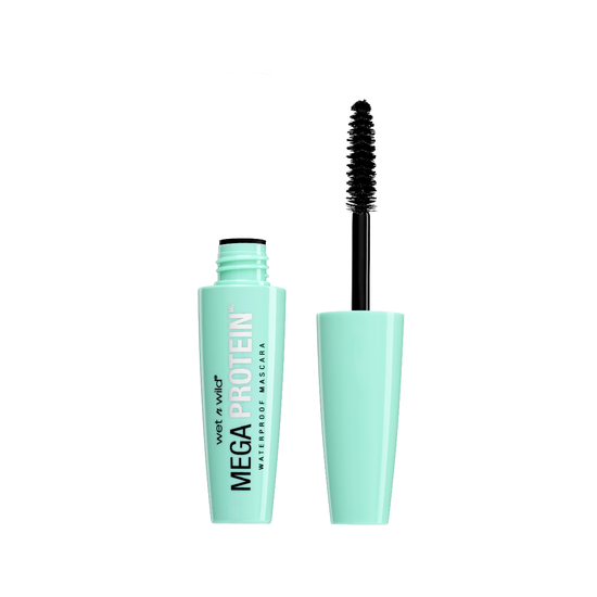 Wet n Wild | Mega Protein Waterproof Mascara, Very Black - Product front facing with cap off on a white background