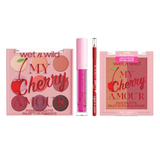 My Cherry Amour Bundle from Wet n Wild   on the left: front facing closed My Cherry Amour 9 Pan Shadow Palette, in the middle, front facing closed My Cherry Amour Lip Kit, on the right: front facing closed My Cherry Amour Blushlighter with no background