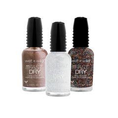 wet n wild |Fast Dry Nail Color Bundle | Glitz and Glam | Three nail polishes over a white background