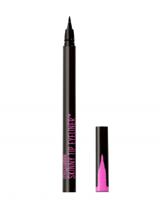 Wet n Wild | MegaSlim Skinny Tip Eyeliner -Black - Product front facing with cap off on a white background