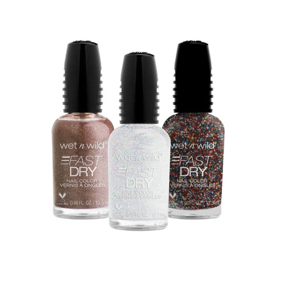 wet n wild |Fast Dry Nail Color Set | Glitz and Glam | Three nail polishes over a white background