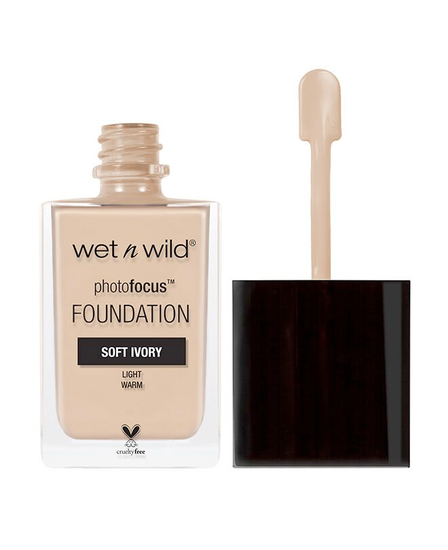 Wet n Wild | Photo Focus Foundation Soft Ivory - Product front facing with cap off on a white background