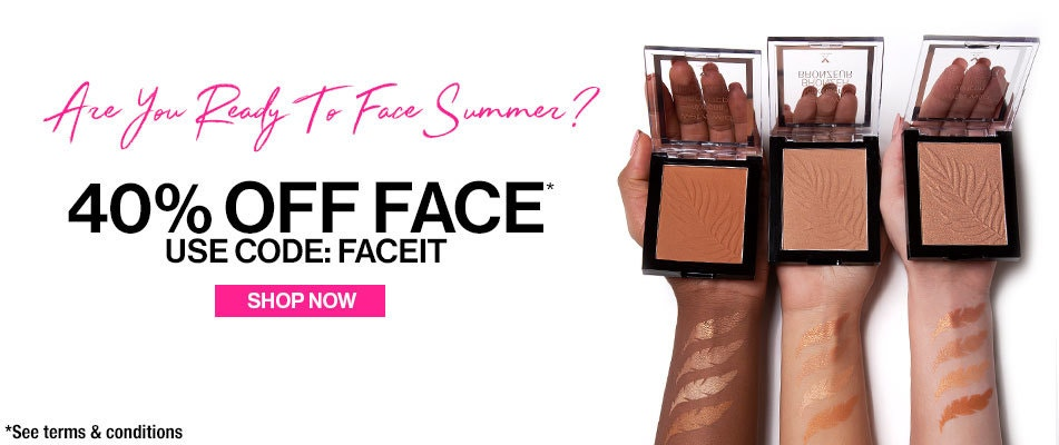 wet n wild | Are You Ready To Face Summer? 40% Off Face Use Code: FACEIT | Shop Now | Three models arms holding three face bronzers open with swatches on their arms on a white background