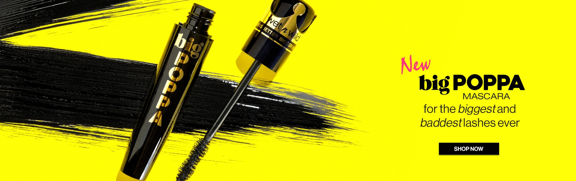 wet n wild | NEW Big Poppa Mascara for the biggest and baddest lashes ever | Mascara on a yellow background open | SHOP NOW