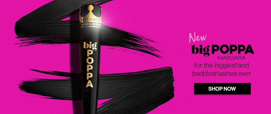 wet n wild | NEW big POPPA Mascara for the biggest and baddest lashes ever | Product front facing on a pink background |SHOP NOW