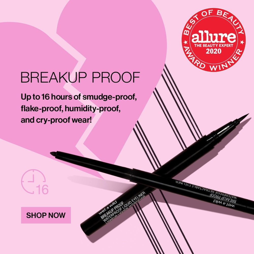 wet n wild | Breakup Proof Waterproof Liners, Up to 16 Hours of Smudge-proof, humidity-proof, flake-proof and cry-proof wear! Three Products laying different angles uncapped | SHOP NOW
