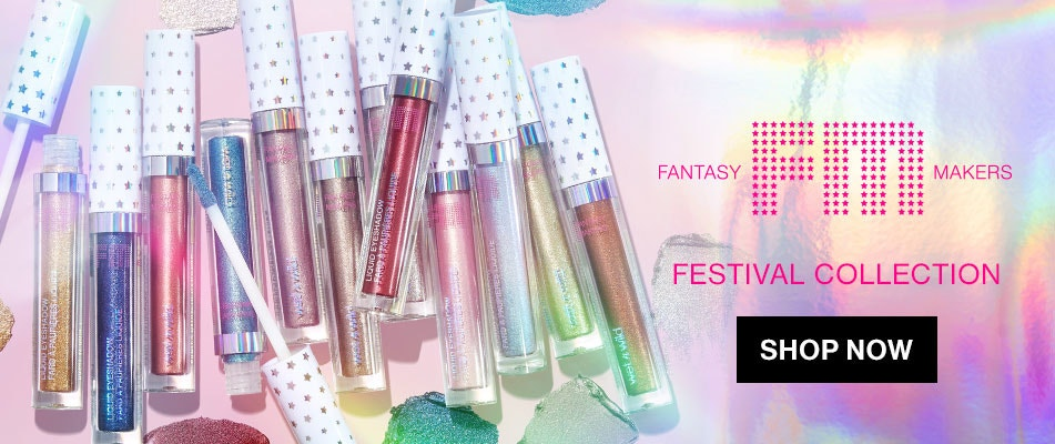 wet n wild | fantasy makers festival | products next to each other on a gray background | shop now