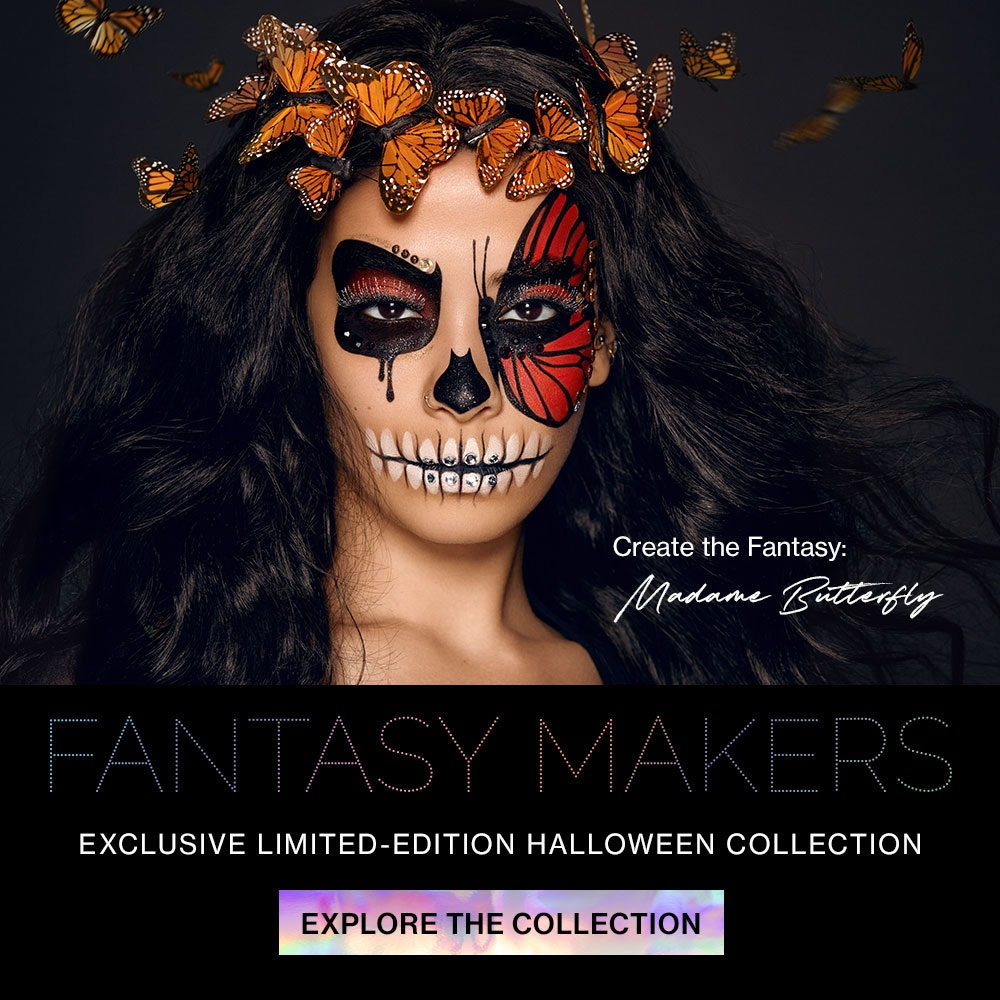 wet n wild | FANTASY MAKERS exclusive limited-edition Halloween Collection | MODEL ON A BLACK BACKGROUND | EXPLORE THE COLLECTION