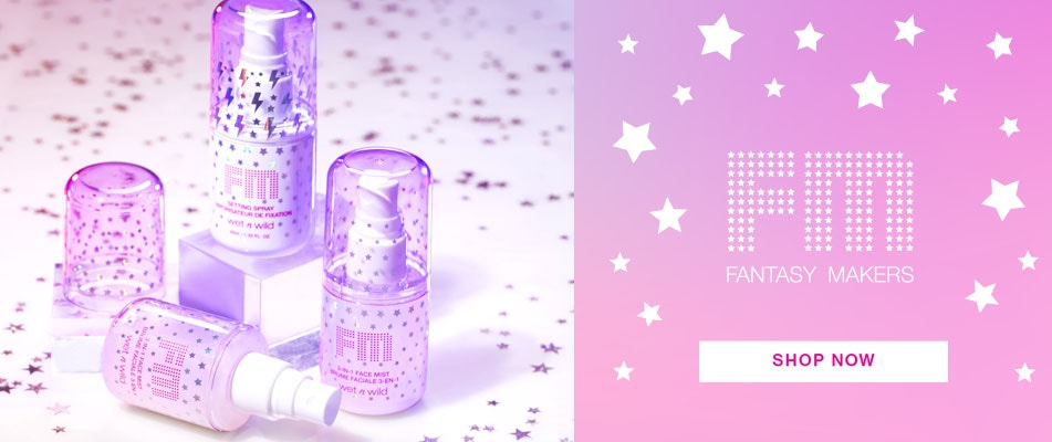 Fantasy Makers Face Sprays | wet n wild | Shop Now | Products scattered with stars and white background