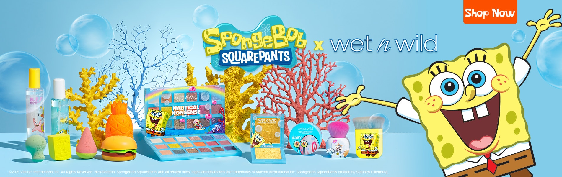 SpongeBob Squarepants X wet n wild | Shop Now | wet n wild | Products displayed with corals and blue background
