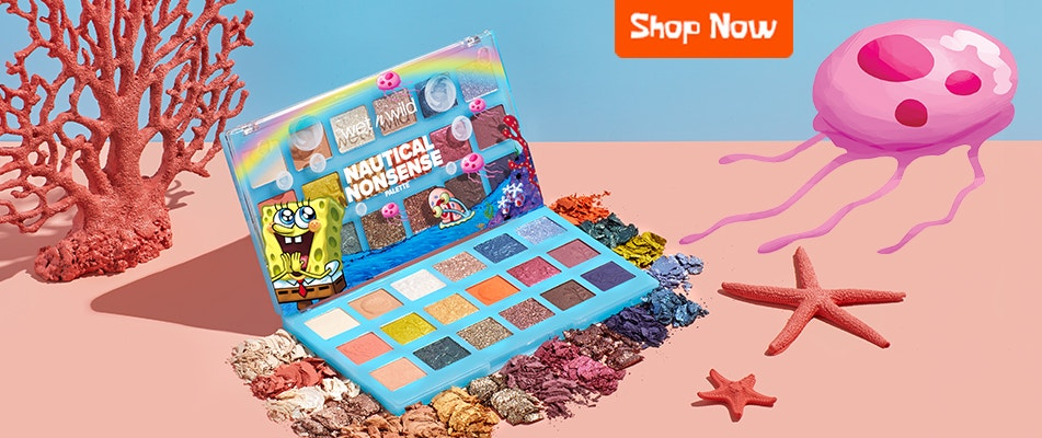 SpongeBob Squarepants  X wet n wild | Nautical Nonsense Palette | Shop Now | wet n wild | Product angled wiith coral and baby blue background