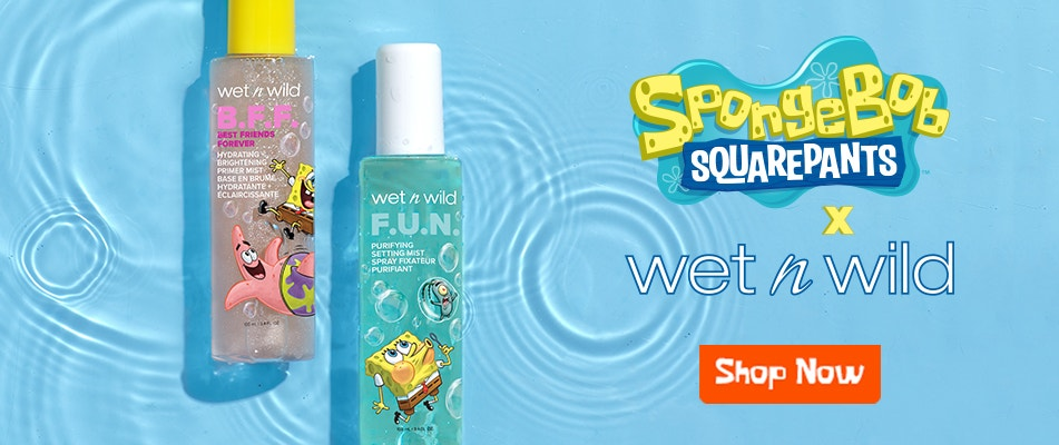SpongeBob Squarepants  X wet n wild | Setting Sprays | Shop Now | wet n wild | Product front facing caps fastened wiith water and baby blue background