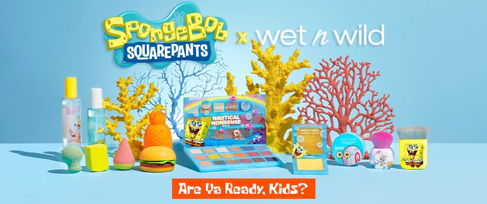 SpongeBob Squarepants  X wet n wild | Are Ya Ready, Kids? | wet n wild | Products displayed wiith corals and baby blue background