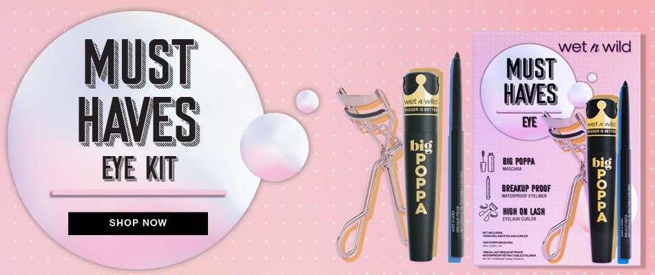 Must Haves Eye Kit | Shop Now | Wet n wild | Product fron tfacing caps fastened, with pink background