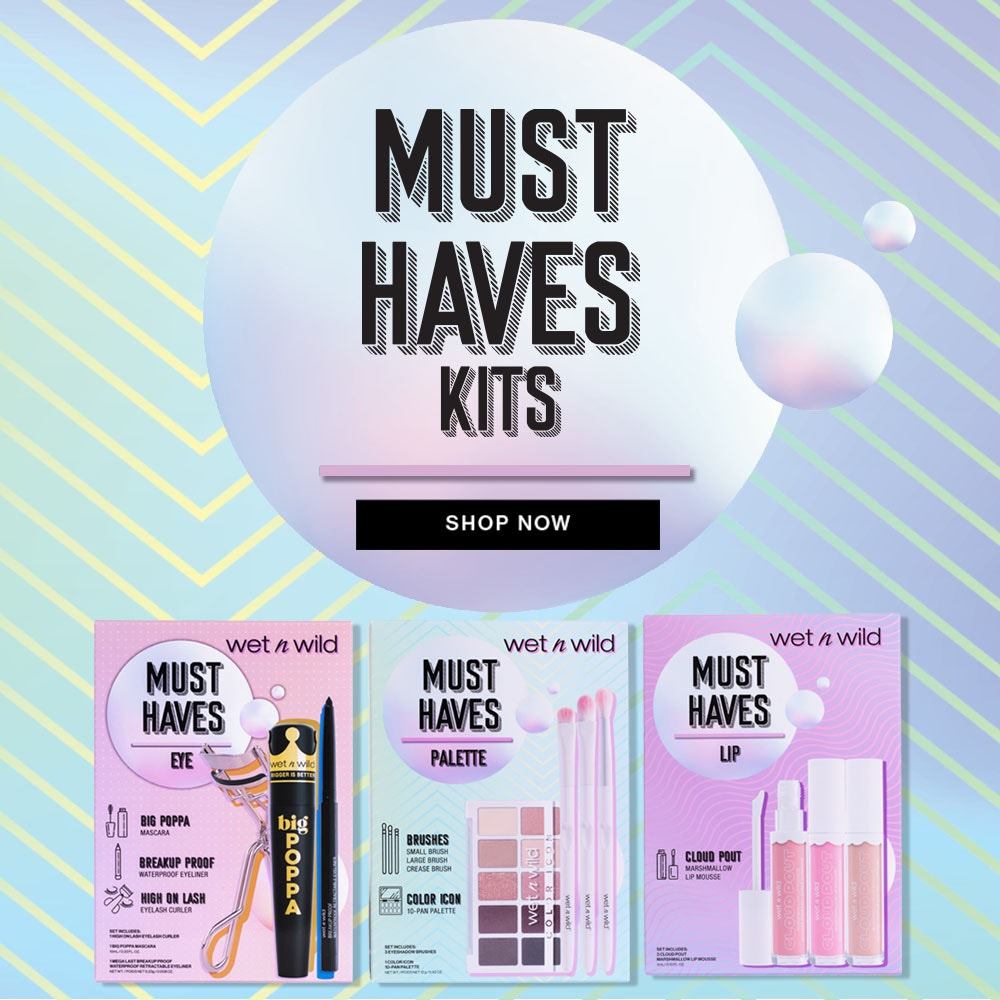 Must Haves Kits | Shop Now | Wet n wild | Products front facing in pacaging with blue background