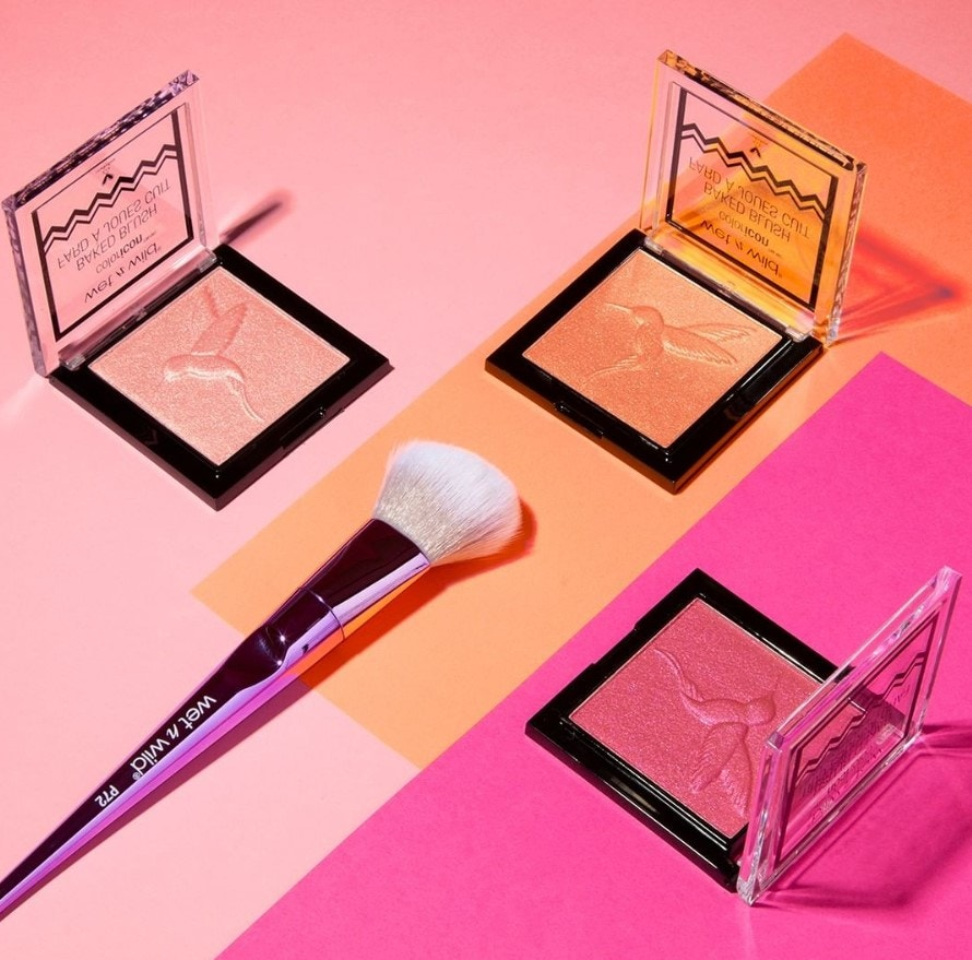 Blush compacts with makeup brush