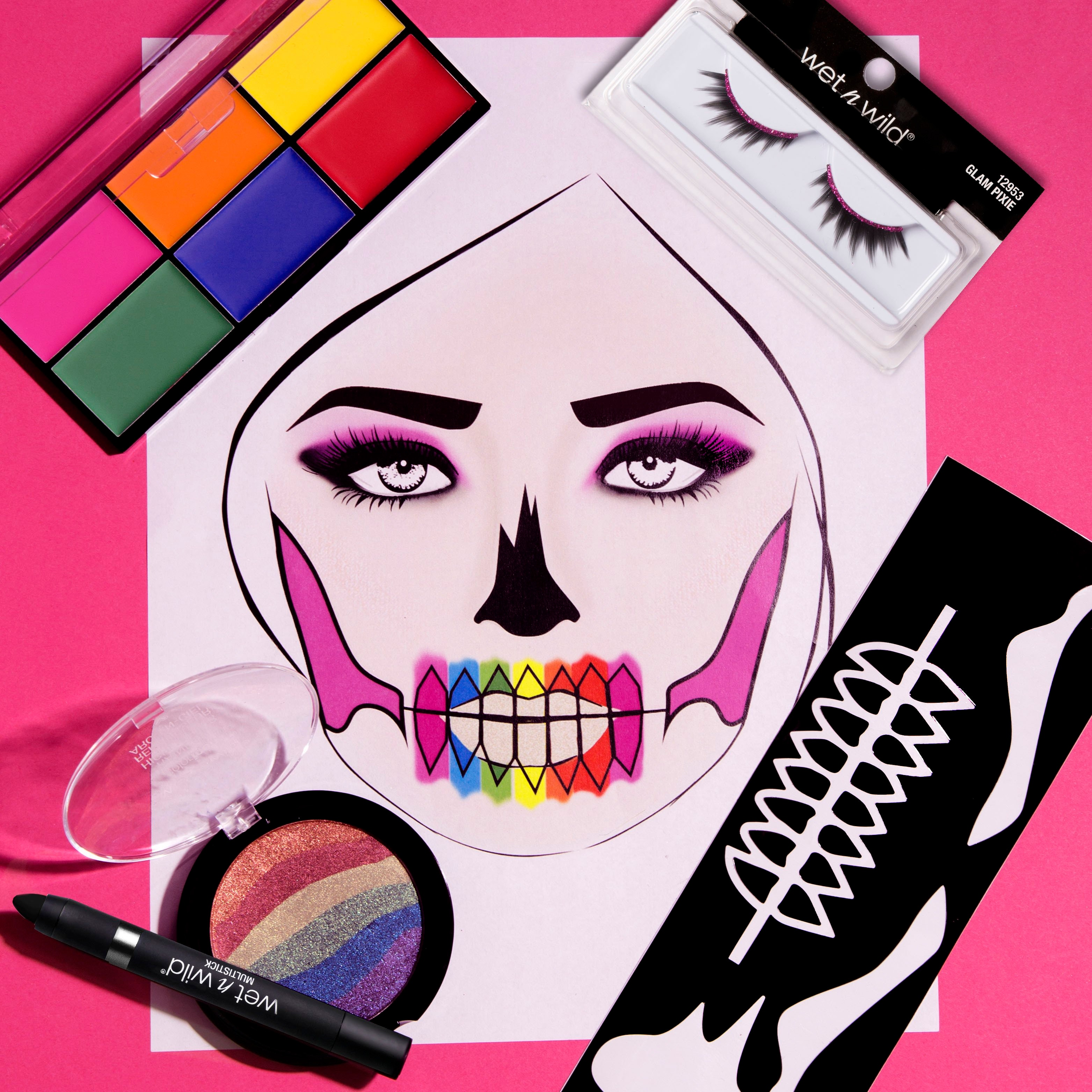 Colorful Skull Halloween Makeup and Makeup Stencil